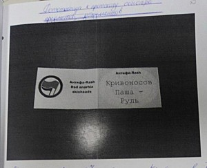 "Fake ""membershop card of Antifa-RASH"", planted to Pavel during search of his home."