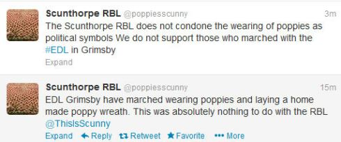 Screenshot taken 27.05.13 The Royal British Legion distance themselves from the EDL