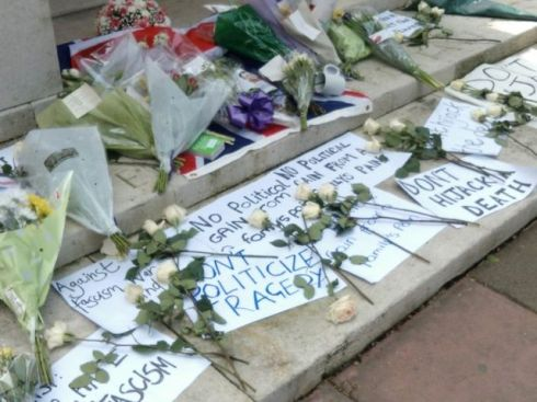 Brighton's war memorial today, seems Anti-Fascists got there first!