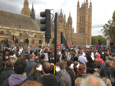 London: Anti-Badger cull protesters unite with Anti-Fascists against the BNP