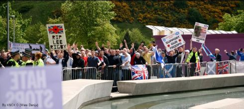 "Edinburgh: Scottish defence league/ EDL pull nazi salutes in ""honour"" of Lee Rigby"