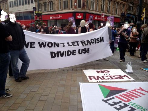 Anti-fascists in Leeds today