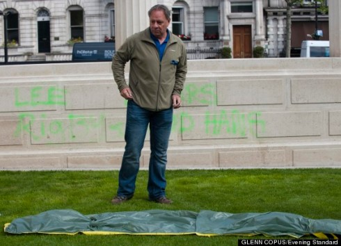 "War memorial in London is desecrated hours after the arson attack with the words ""LEE RIGBY KILLERS SHUD HANG"""