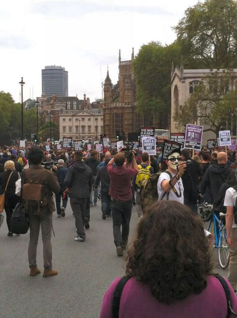 Antifascists marching through Parliament Sq, London today