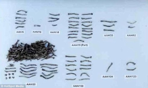 Nails collected from the blast site in Tipton