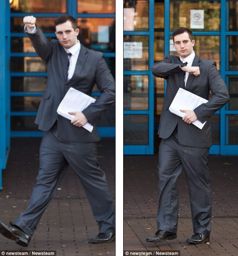White supremacist sicko Clifft gives white power salute outside Wolverhampton crown court last week