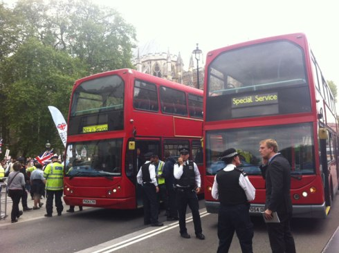 'Special service' buses used to detain arrested anti-fascists at the BNP protest